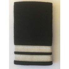 Epaulette Rank Slides Black with Silver Stripes